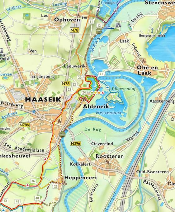Detailkaart wandelgebied Aldeneik