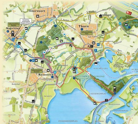 Detailkaart wandelgebied Kessenich
