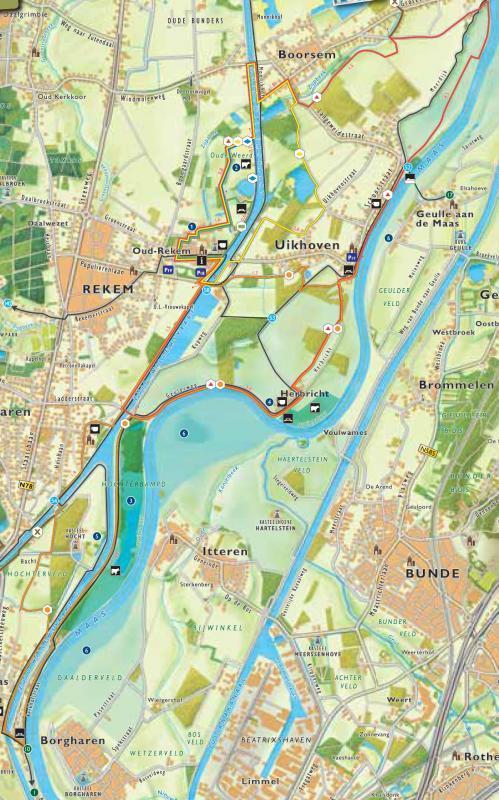 Detailkaart wandelgebied Oud - Rekem